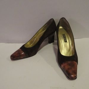 ESCADA BROWN/TORTOISE SUEDE PUMPS SZ 9.5 B
